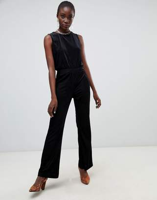 Pieces Velvet Ribbed Wide Leg Jumpsuit