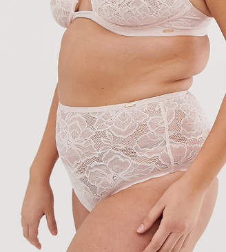 Figleaves Curve The Luxe lace highwaisted knicker in pink