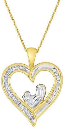 JCPenney FINE JEWELRY Mom & Baby 1/10 CT. T.W. Diamond 10K Yellow Gold Heart Pendant Necklace