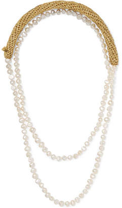 Lucy Folk - Pearl Diver Gold-plated, Lurex And Pearl Necklace