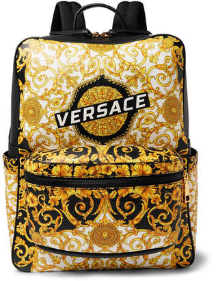Versace Printed Full-Grain Leather Backpack