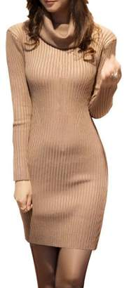 V28® Women Cowl Neck Knit Stretchable Elasticity Long Sleeve Slim Fit Sweater Dress M/L US 10-14