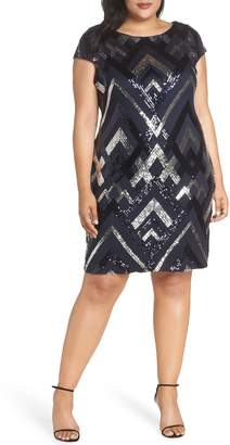 Vince Camuto Sequin Cap Sleeve Sheath Dress