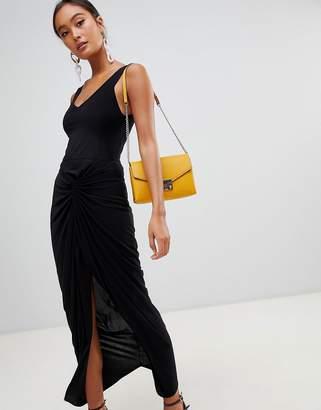 Miss Selfridge bardot twist back maxi dress