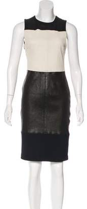 A.L.C. Virgin Wool Leather-Accented Dress