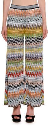 Missoni Rhombus Multi-Stripe Wide-Leg Crop Pants