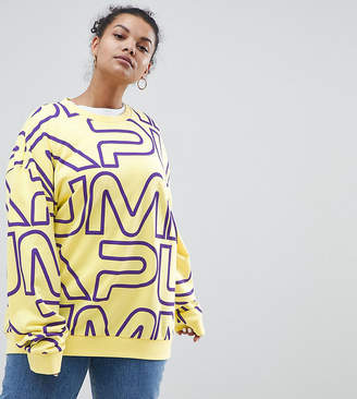 Puma Exclusive To ASOS Plus Sweatshirt With All Over Logo In Yellow