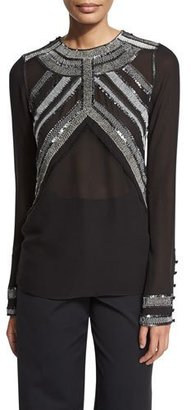 Derek Lam Embroidered-Yoke Long-Sleeve Blouse, Black $2,595 thestylecure.com