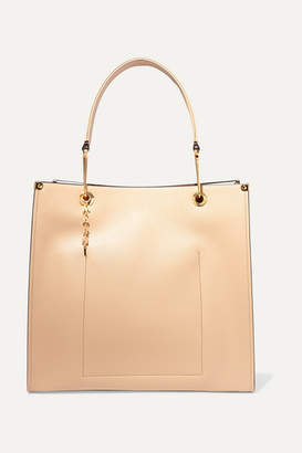 Marni Large Two-tone Textured-leather Tote - Beige