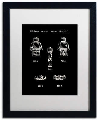 "Lego Claire Doherty 'Lego Man Patent 1979 Page 1 Black' Matted Framed Art - 16"" x 20"""