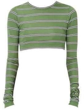 Marc Jacobs Women's Redux Grunge Stripe Jersey Crop Tee - Green Ivory Flannel - Size XS