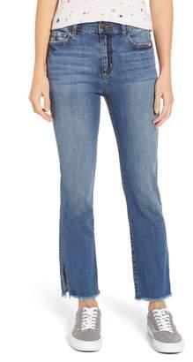 SP Black Split Hem Crop Flare Jeans