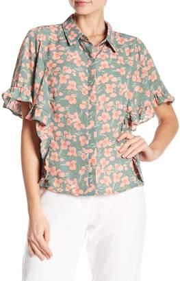 June & Hudson Floral Ruffle Shirt