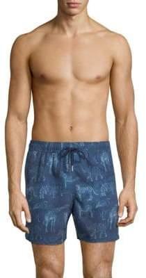 Jared Lang Animal-Print Swim Shorts