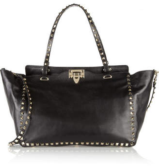 Valentino Garavani The Rockstud Medium Leather Trapeze Bag - Black