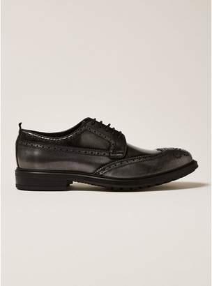 Topman Mens Dark Silver Premium Leather Orpin Brogues