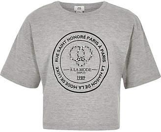 River Island Girls grey circle embellished T-shirt