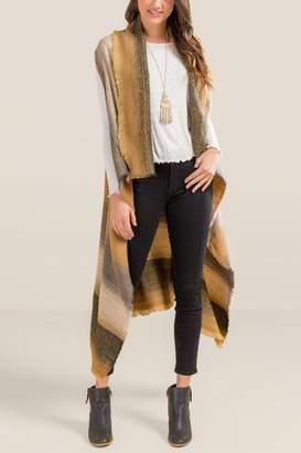 francesca's Stacee Striped Ruana Vest - Brown