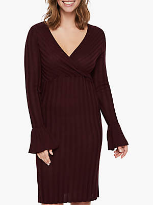 Mama Licious Mamalicious Zanne Tess Knitted Dress, Wine