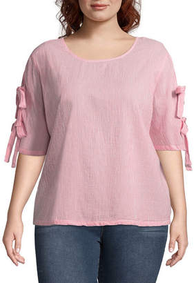 BELLE + SKY Short Sleeve Round Neck Woven Blouse-Plus