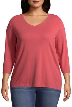 ST. JOHN'S BAY 3/4 Sleeve V-Neck T-Shirt - Plus