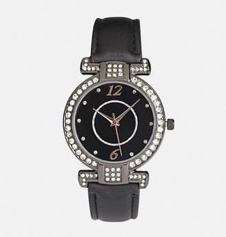 Avenue Black Faux Leather Strap Watch
