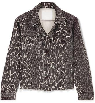 Mother The Cut Drifter Distressed Leopard-print Denim Jacket - Leopard print