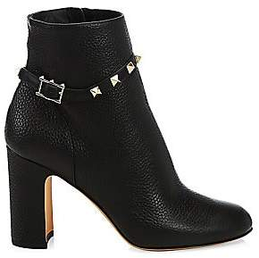 Valentino Women's Rockstud Pebbled Leather Ankle Booties