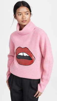 Markus Lupfer Elinor Rib Sequin Lip Sweater