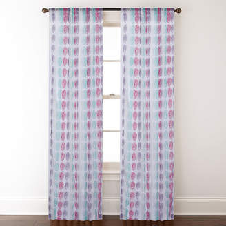 Asstd National Brand Cleo Rod-Pocket Embroidered Sheer Curtain Panel