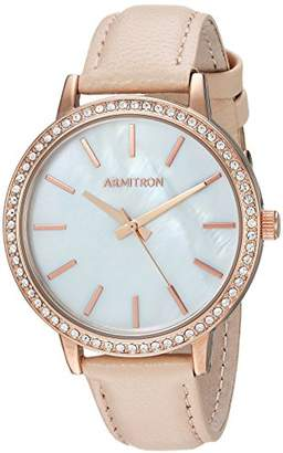 Swarovski Armitron Women's 75/5503MPRGBH Crystal Accented Rose Gold-Tone and Blush Leather Strap Watch