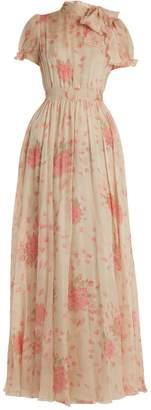Valentino Neck-tie rose-print silk-chiffon gown