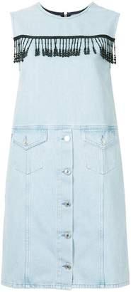 MSGM sleeveless denim pinafore dress