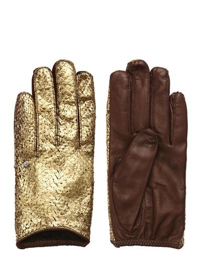 'rita' Laminated Salmon Skin Gloves