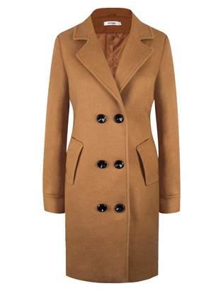 APTRO Women's Wool Coat Lapel Double-Breasted Long Classic Winter Windproof Jacket WS01-120-9 XL