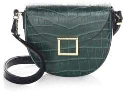 Jason Wu Jaime Croc-Embossed Leather Saddle Bag