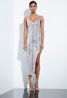Missguided Silver Embellished Midi Dress, Silver