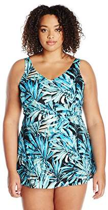 Maxine Of Hollywood Women's V-Neck Swim Dress One Piece Swimsuit