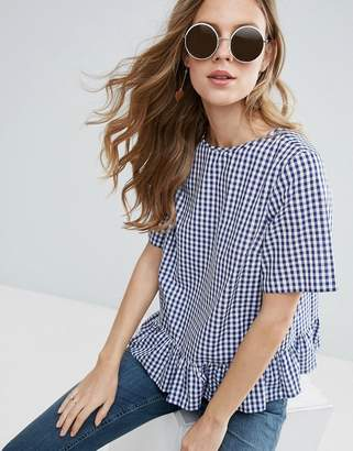 ASOS Gingham Tee With Ruffle Hem $43 thestylecure.com