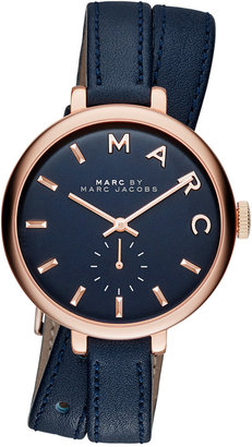 Marc Jacobs Women's Sally Blue Double Wrap Leather Strap Watch 36mm MBM8662 $225 thestylecure.com