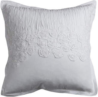 """Rizzy Home White 20"""" X 20"""" Flower And Flourish Poly Filled Pillow"""