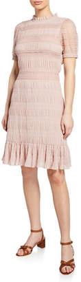 Velvet Rochana Smocked Short-Sleeve Dress