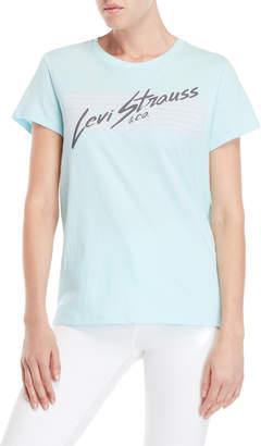 Levi's Iced Aqua Stripe Logo Perfect Tee