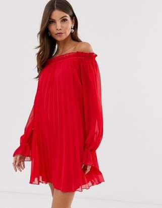 Asos Design DESIGN off shoulder pleated trapeze mini dress