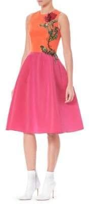 Carolina Herrera Silk Faille Embroidered A-Line Dress