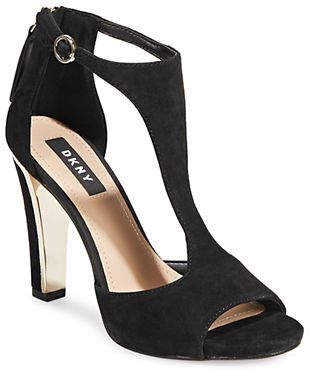 DKNY Colby Suede T-Strap Sandals