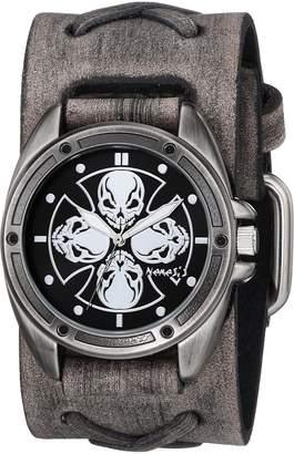 Nemesis Men's 909FXB-KK Skull Compass Series Analog Display Japanese Quartz Grey Watch