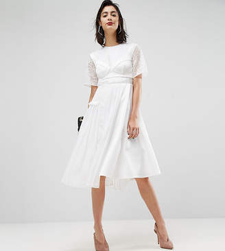 Asos Premium Satin Pleat Detail Dress With Detachable Bralet