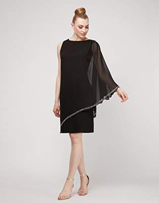 S.L. Fashions Women's One Shoulder Chiffon Cape Overlay with Beaded Trim Dress