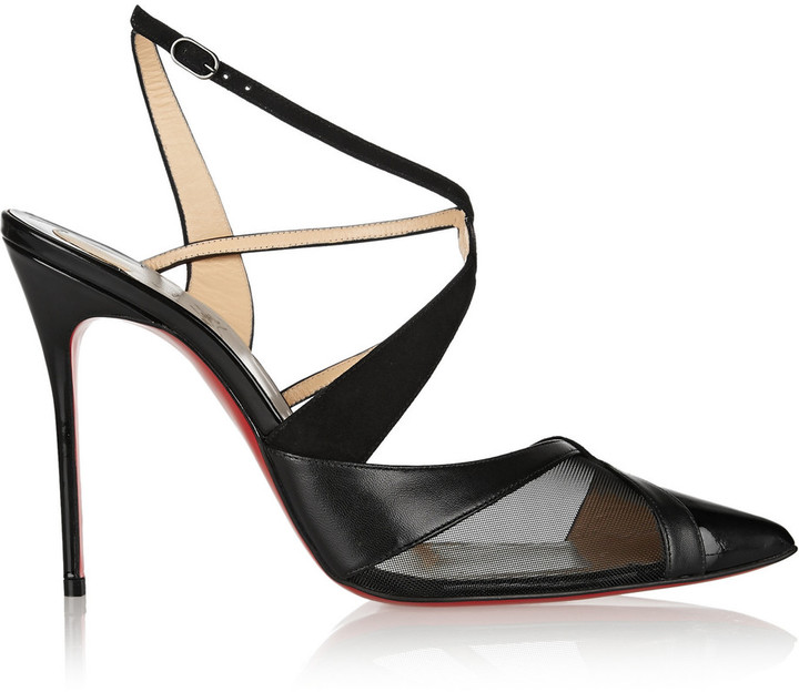 Christian Louboutin Christian Louboutin Evoluta 100 leather, suede and mesh pumps